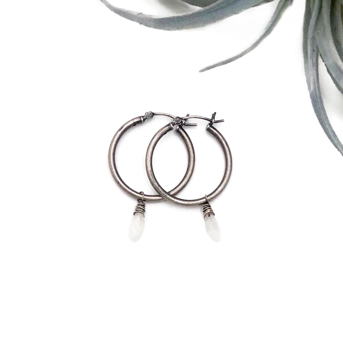 Hoops with Rainbow Moonstone
