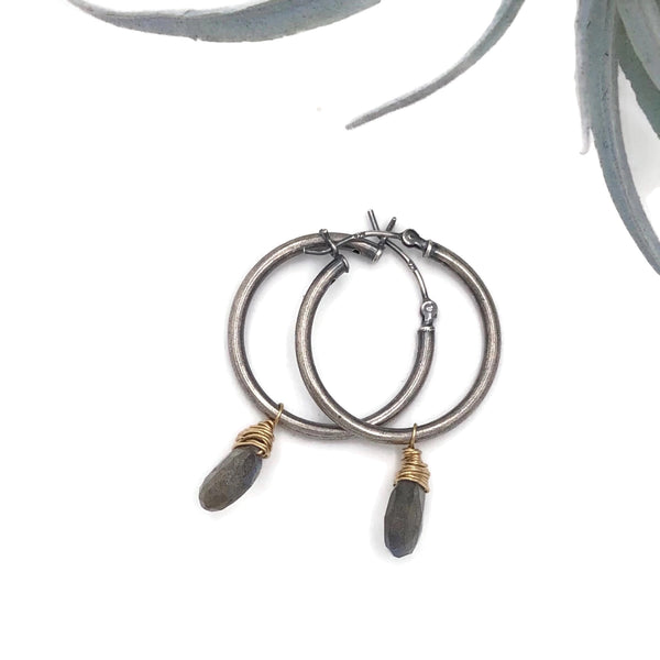 Medium Hoops gold fill wrapped Labradorite