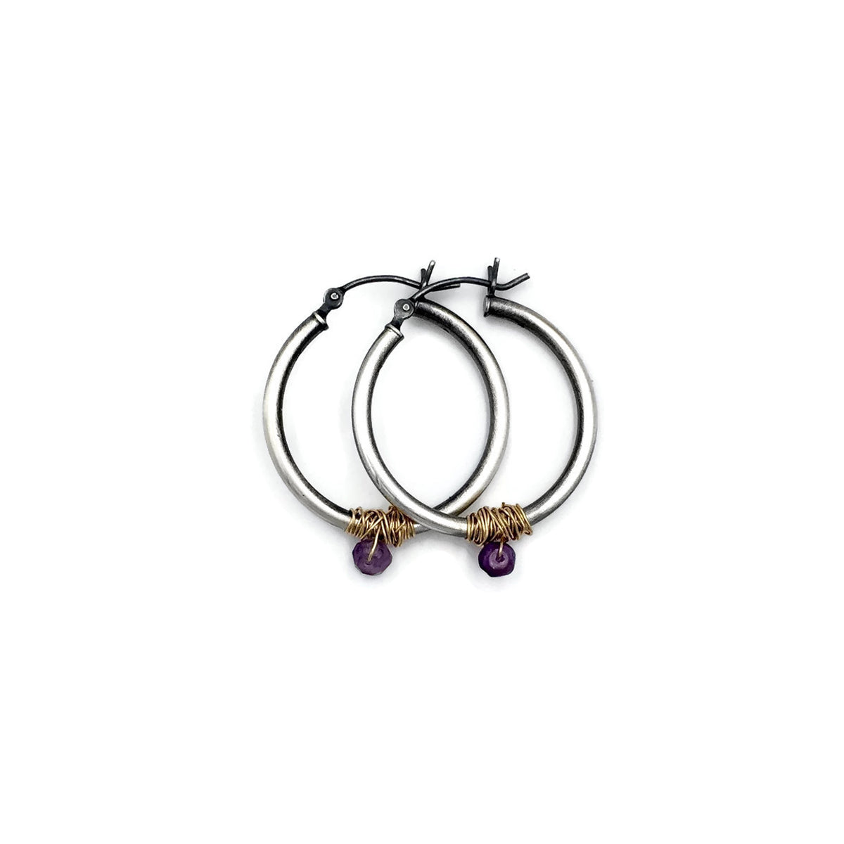 Amethyst Mixed Metal Hoops