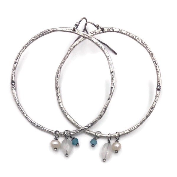Textured Loops with Moonstone, Apatite and Pearl