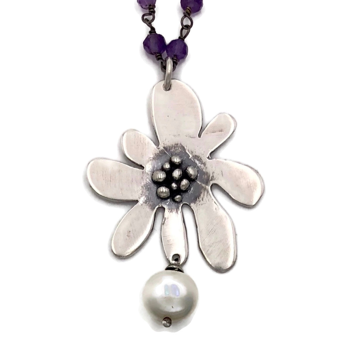 Funky Flower on Mixed Wire Twist Chain.