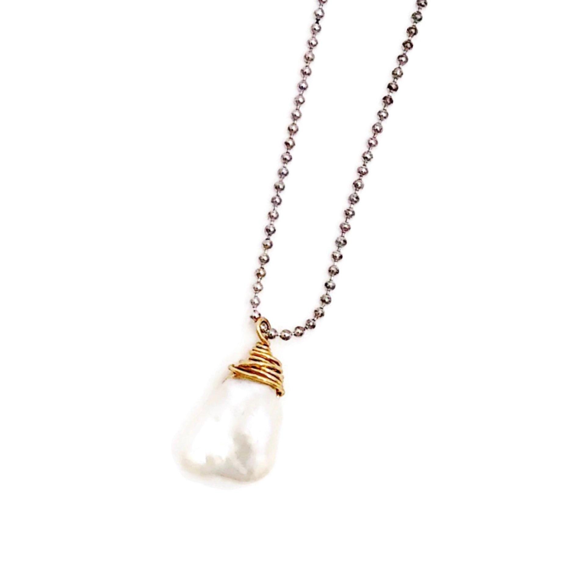 Keshi Pearl Wrapped in Gold Filled Wire Necklace