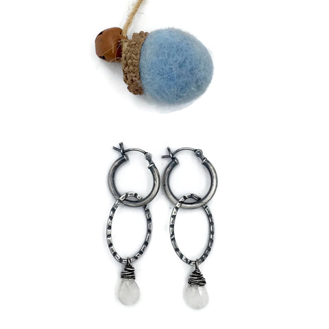 Loop on a Hoop Moonstone earrings