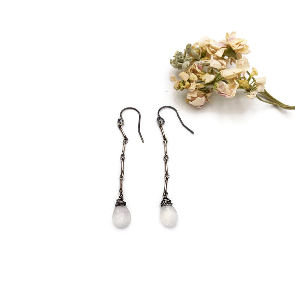 Long Short Chain Earrings with Moonstone