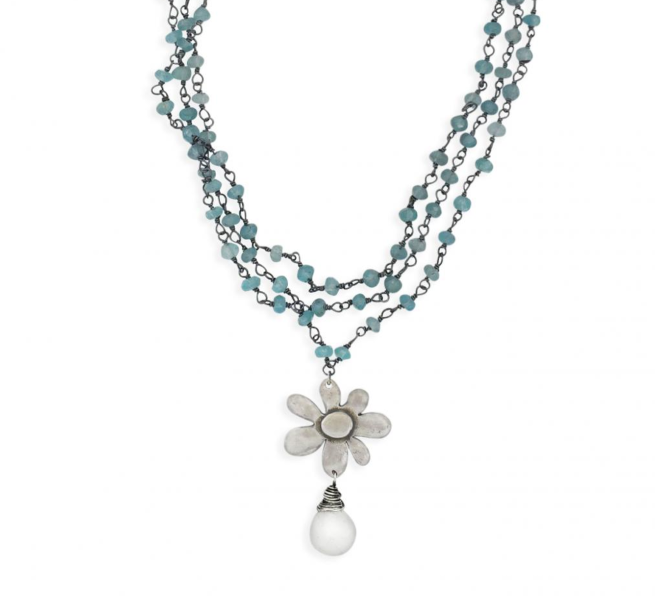 Apatite Flower Necklace - 17 Inches