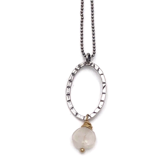 Moonstone Necklace with Gold and Silver.