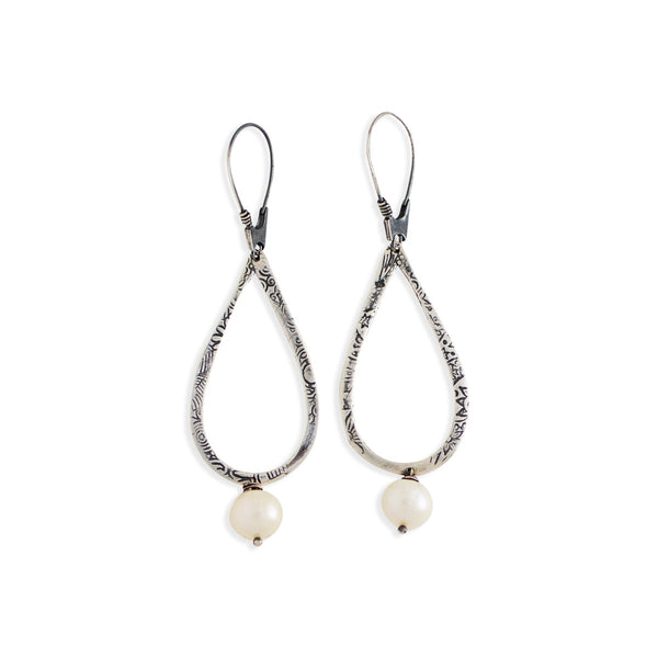 Pearl Textured Teardrop Earrings