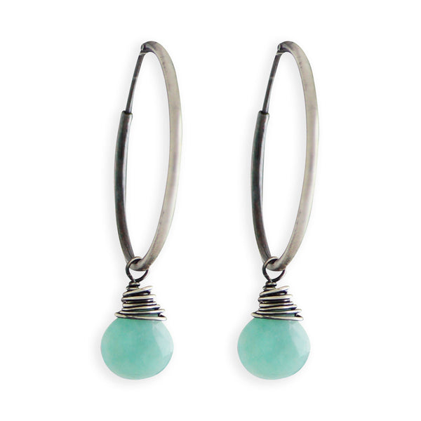 Amazonite Hoop Earrings