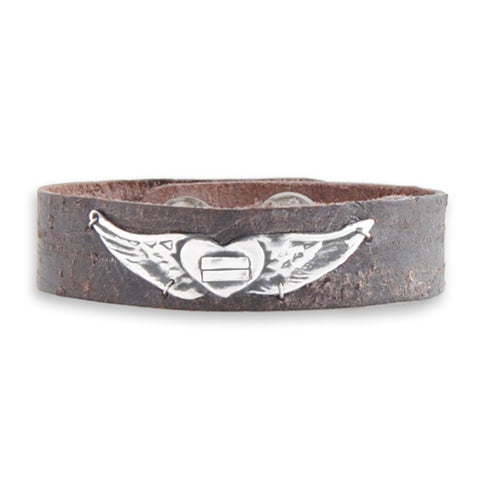Angel Wings Leather Cuff