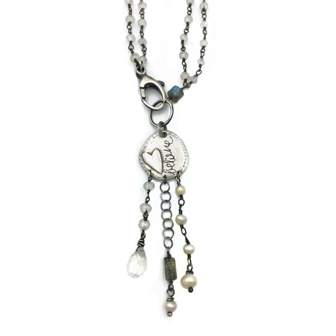 Believe Pendant draped in Moonstone and quartz