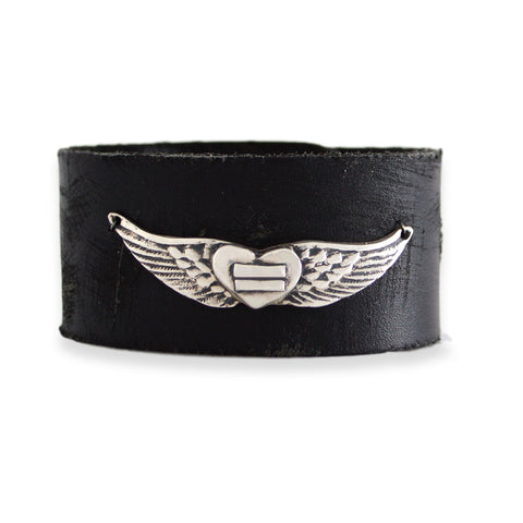 Large Angel Wings Leather Cuff