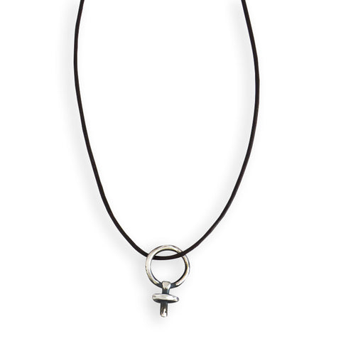 Single Female Gender Sign on Leather Necklace