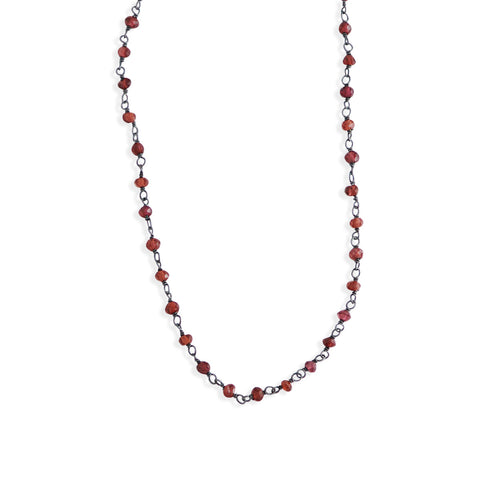 Beaded Garnet Chain Necklace