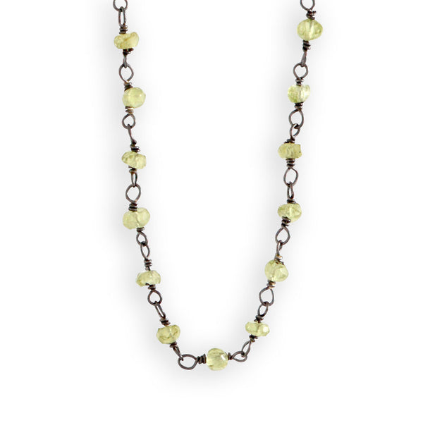 Beaded Peridot Chain Necklace