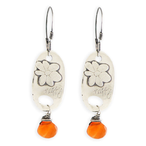 Carnelian Happy Flower Earrings