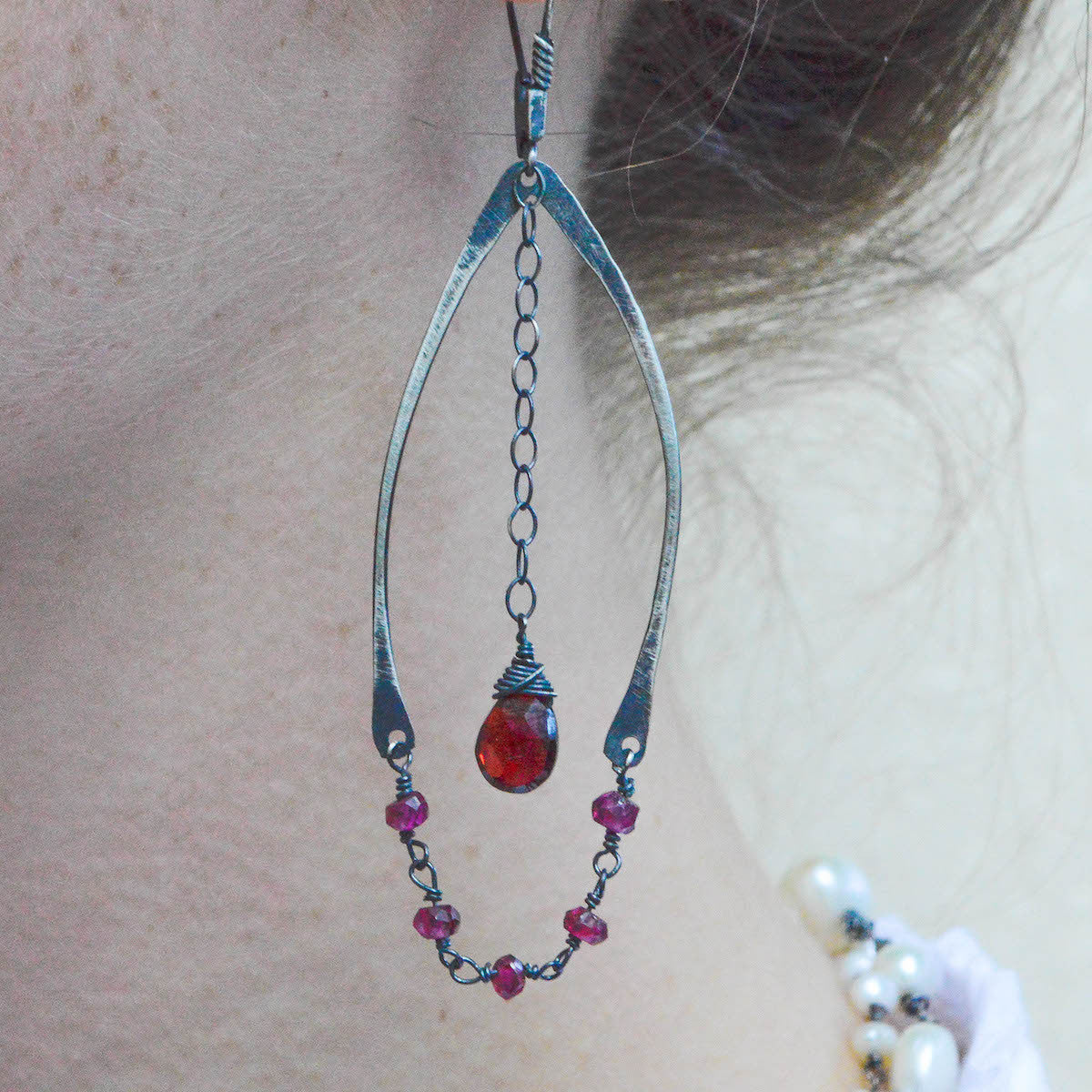 Garnet Wishbone Earrings