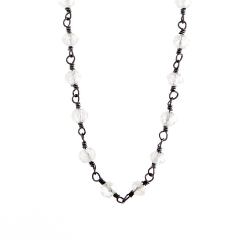 Beaded Moonstone Chain Necklace - 17 Inches