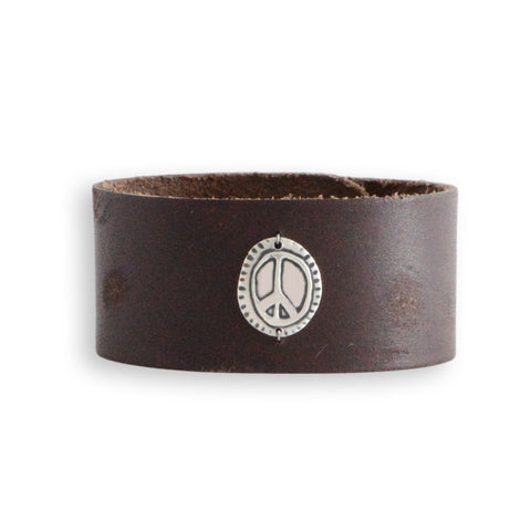 Circle Peace Leather Cuff