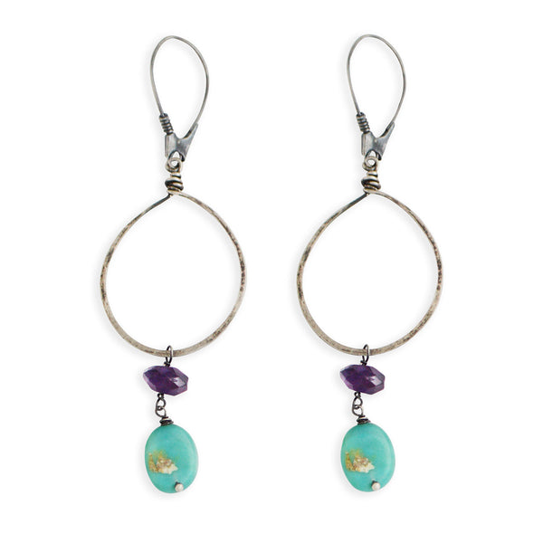 Hammered Hoop Earrings with Amethyst & Chrysoprase
