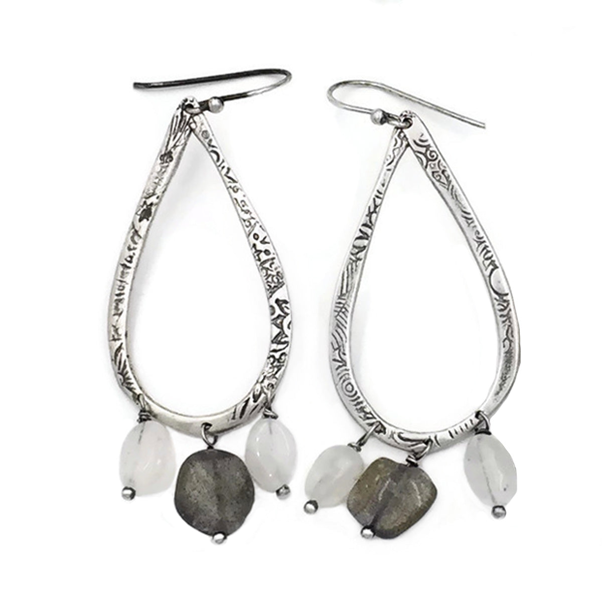 Teardrop earrings with Moonstone and Labradorite