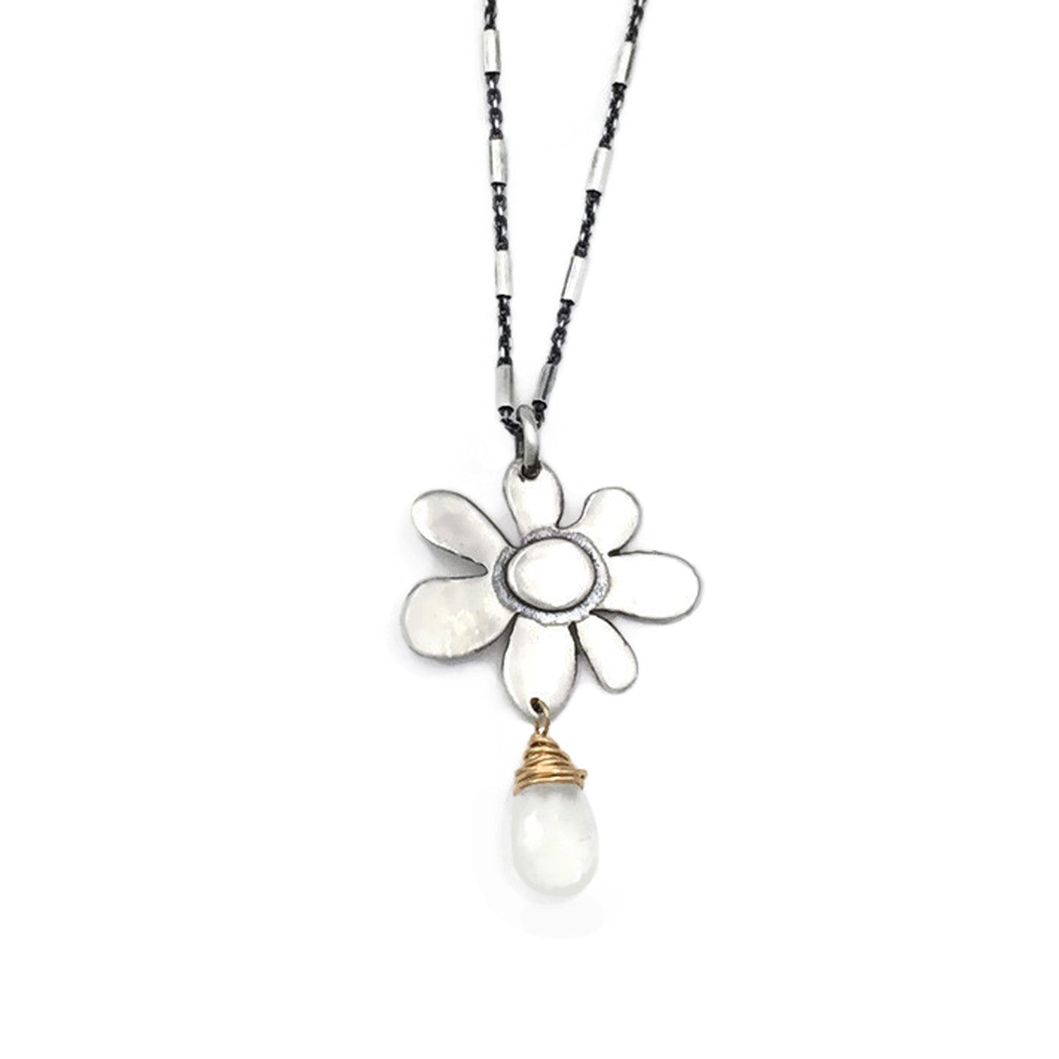 Spring Bloom Mixed metal on designer chain.