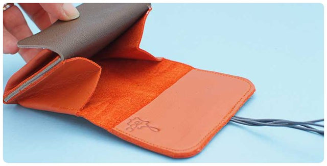 wallet orange leather