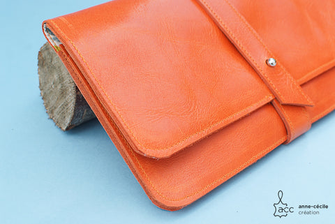 Women's xxl orange leather wallet