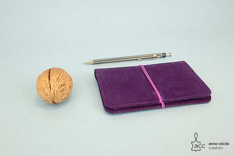 Purple suede leather wallet, artisanal leather goods