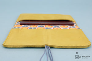 Cover passport yellow leather