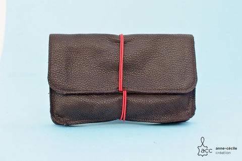 Men's brown leather tobacco case for men