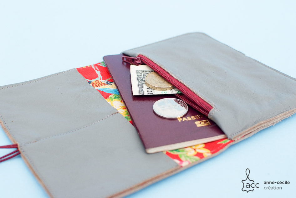 grey leather handmade wallet