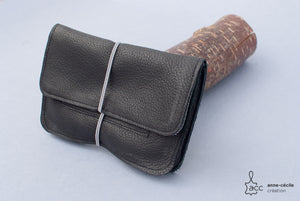 tobacco pouch leather black