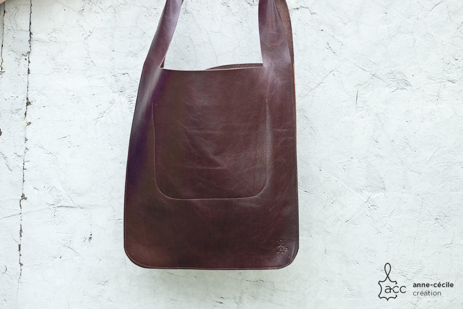 CREATIONACC - sac à main en cuir cabas marron