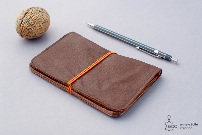 Brown leather cover for passport