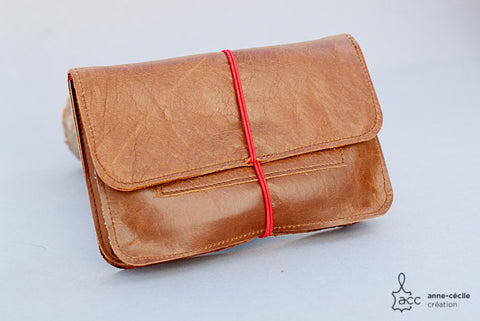 Cognac colour tobacco pouch