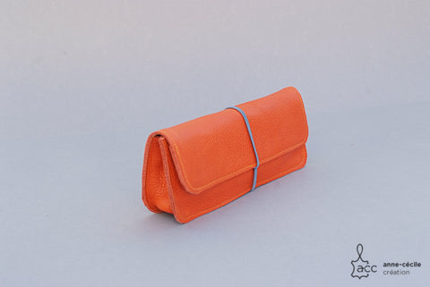 Trousse écolier orange en cuir
