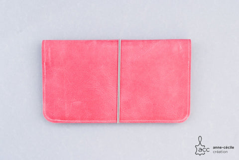 pink leather checkbook