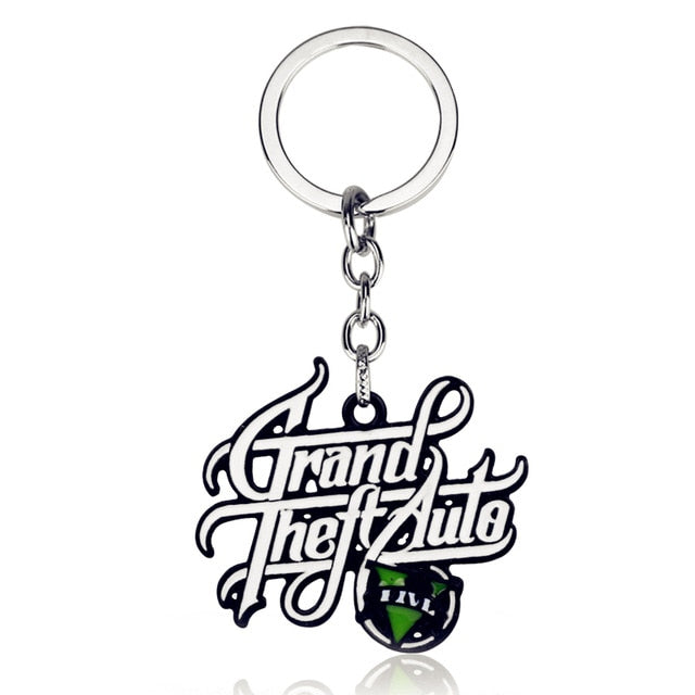 GTA 5 Grand Theft Auto Keychain Key Chain For Fans Xbox PC Rockstar Key Ring Holder 4.5cm Jewelry Llaveros Jewellry