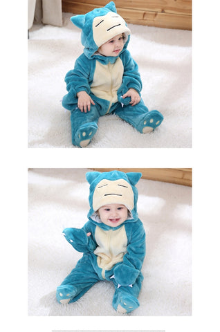 Image of Pokemon Baby Pajamas Long Sleeve Cute Anime Rompers Hooded For Boys Girls Warm Cotton Footed Overall Clothes