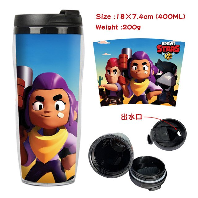 Brawl Stars Cup Cartoon Peripheral Double Insulated Plastic Cup Anime Portable Sports Bottle