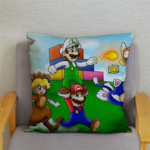 Image of Super Mario Pillowcases 45*45cm Cushion Cover Soft Short Plush Decor Pillow Case Car Sofa Home