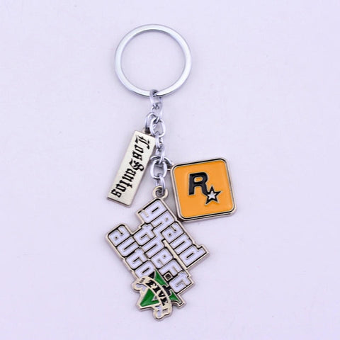 Image of GTA 5 Grand Theft Auto 5 Keychain Key Chain For Men Fans Letter Grand Theft Autob Rock star Keychain Key Buckles