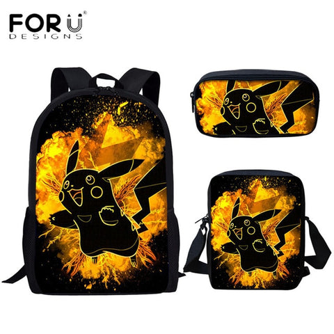Image of Student School Bags Pokemon Printed Pikachu Middle School Teens Backpack Boys Girl Book Pen