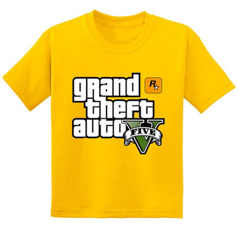 Image of GTA Street Fight Long With GTA 5 Kids T-shirts Boys/Girls Casual Tops Tees