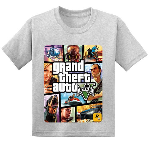 GTA Street Fight Long With GTA 5 Kids T-shirts Boys/Girls Casual Tops Tees