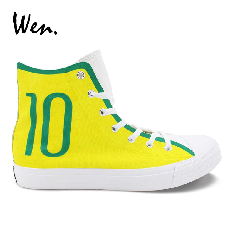 Hand Painted Canvas Shoes Brazilian Football Number 10 Soccer Unisex Sneakers High Top Plimsolls Laced Flat