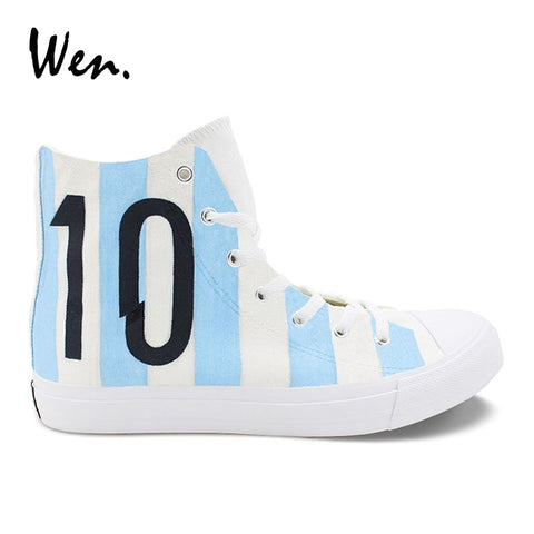 Wen Design Football Soccer Number 10 Argentina National Team Hand Painted Casual Shoes White High Top Canvas Unisex Sneakers
