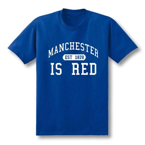 Image of T Shirt Men Manchester Cotton O-Neck Tee Camisa Masculina