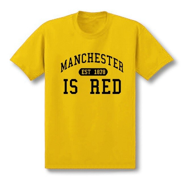 T Shirt Men Manchester Cotton O-Neck Tee Camisa Masculina