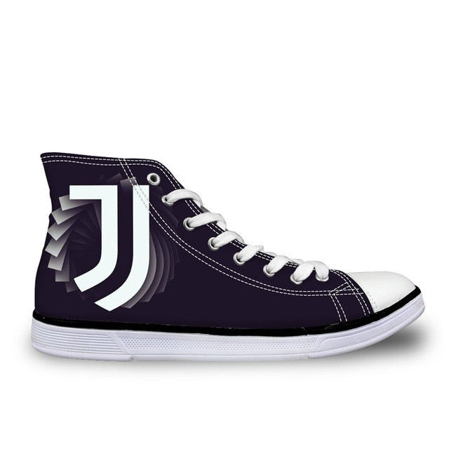 WHEREISART Juventus 2018 Football Men's High Top Shoes Lace-up Canvas Sneakers